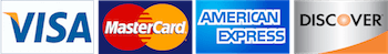 Vista, Mastercard, American Express and Discover Card Logos